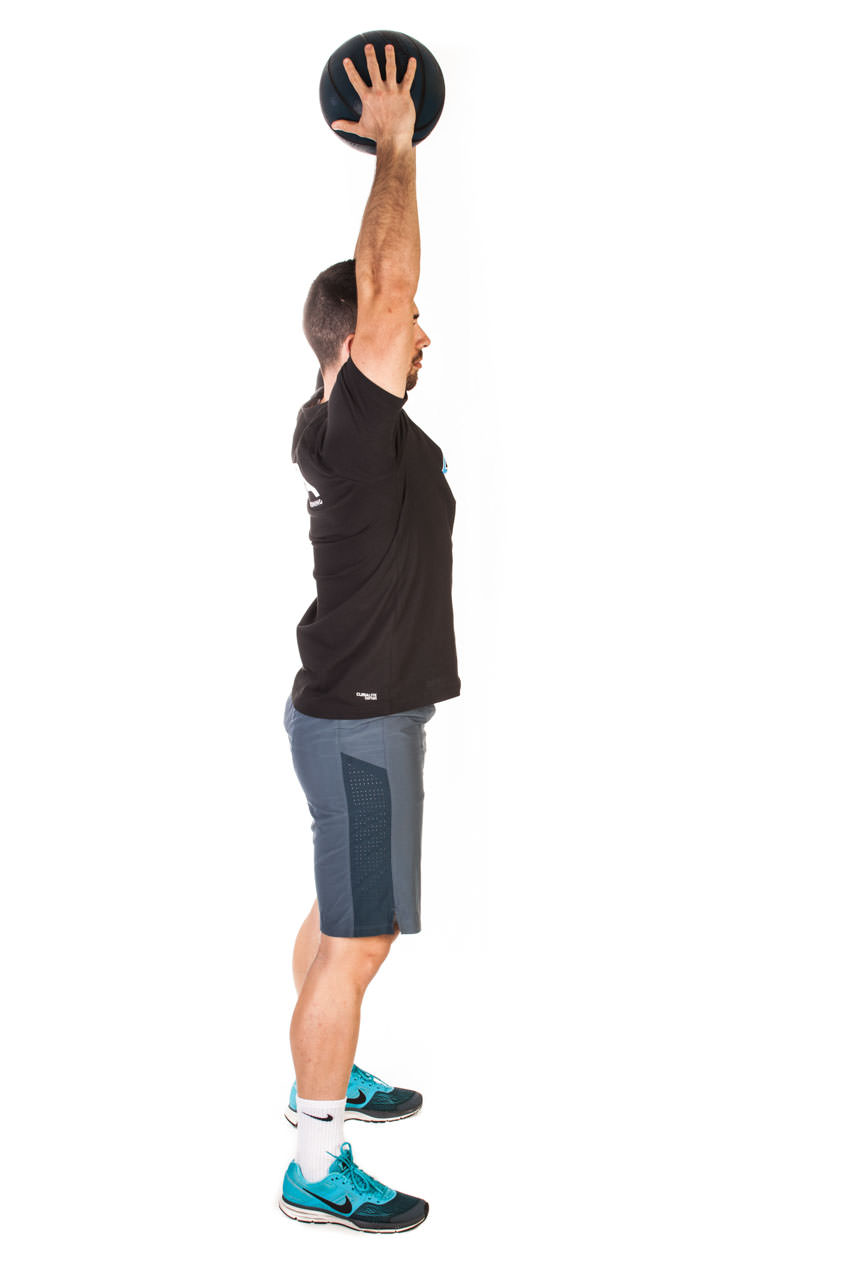 Medicine Ball Lunge to Overhead Press frame #1