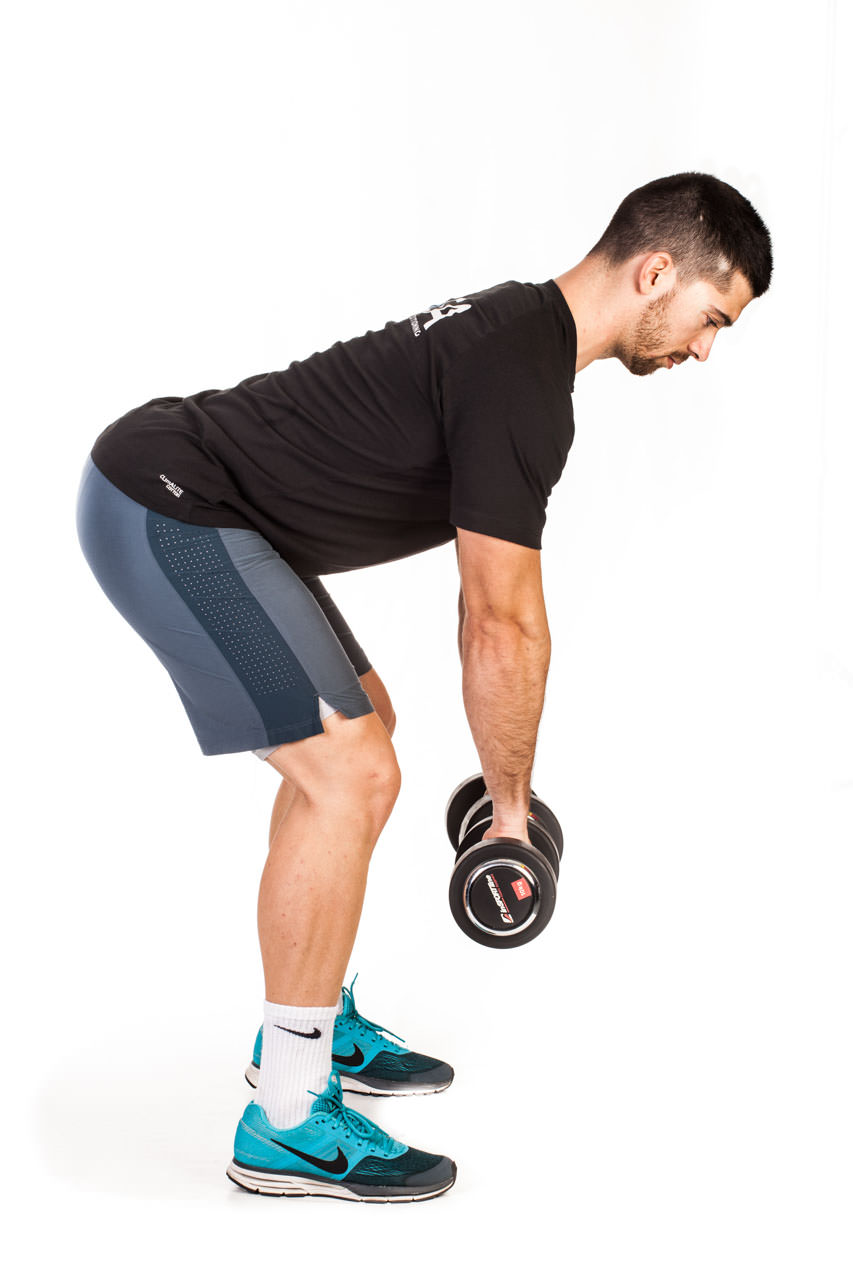 Bent Over Two-Dumbbell Row (Pronated Grip) frame #1