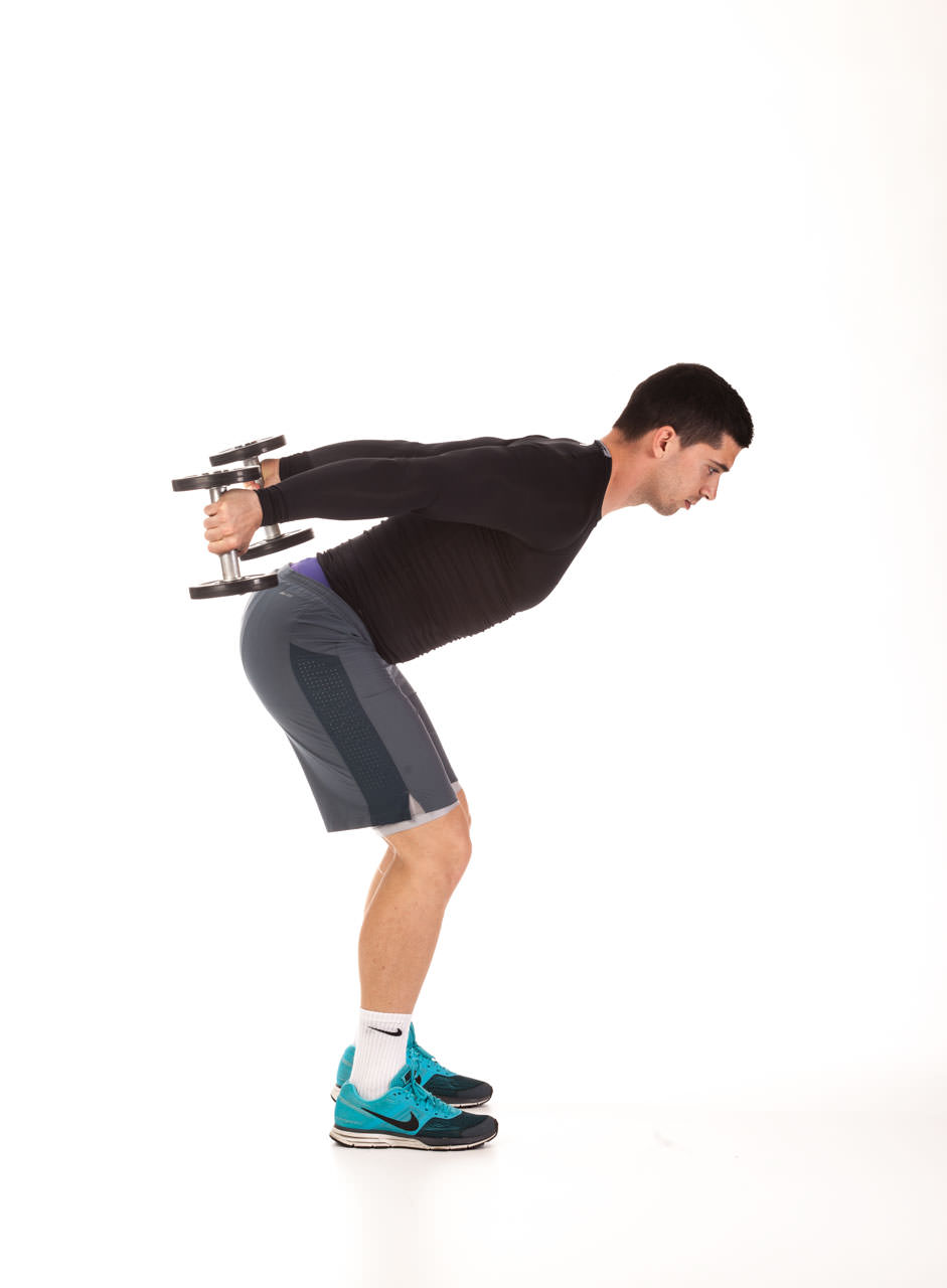 Standing Bent-Over Two-Arm Dumbbell Triceps Extension frame #2