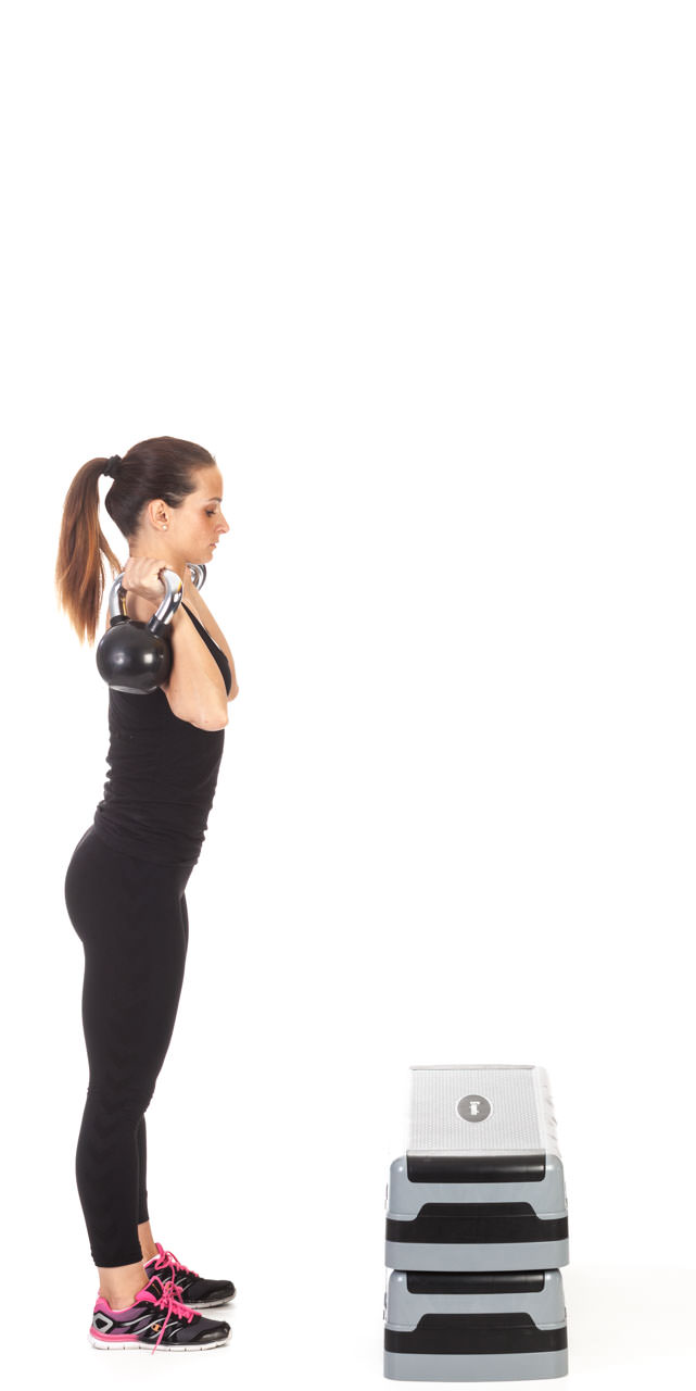 Step-Up Two-Arm Kettlebell Press frame #1