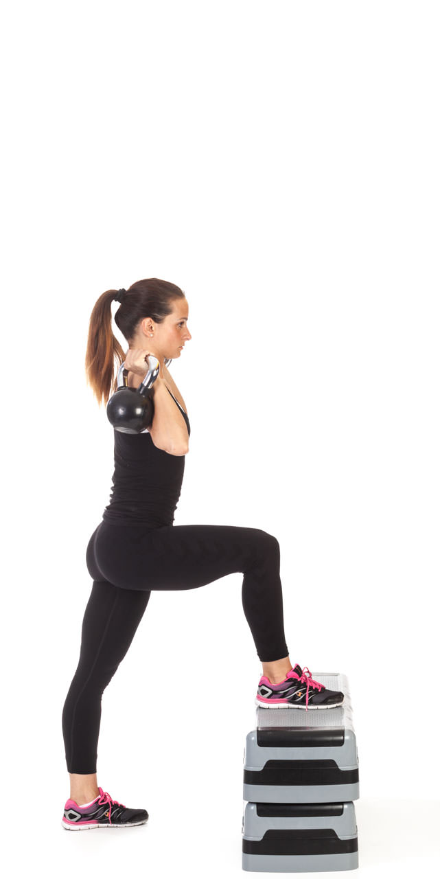Step-Up Two-Arm Kettlebell Press frame #2