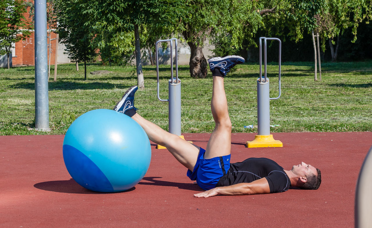 One-Leg Swiss Ball Glute Bridge frame #2