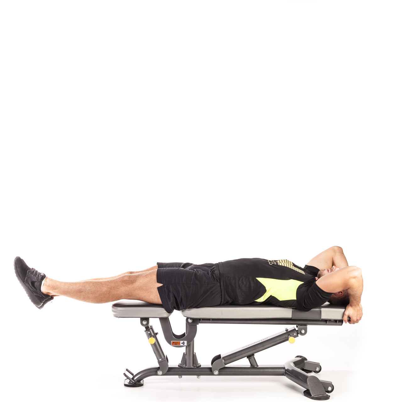 Flat Bench Leg and Hip Raise frame #1