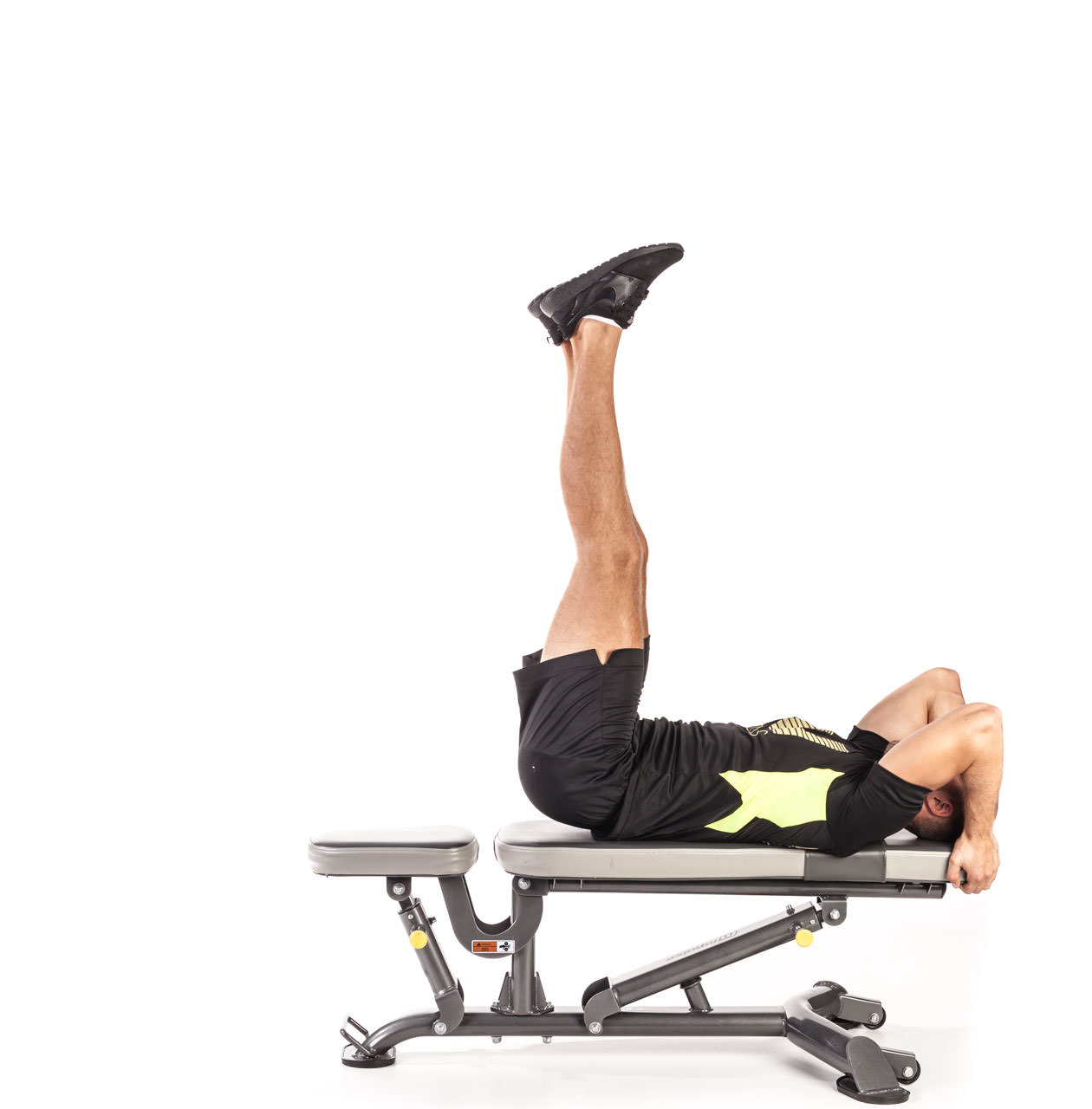 Flat Bench Leg and Hip Raise frame #2