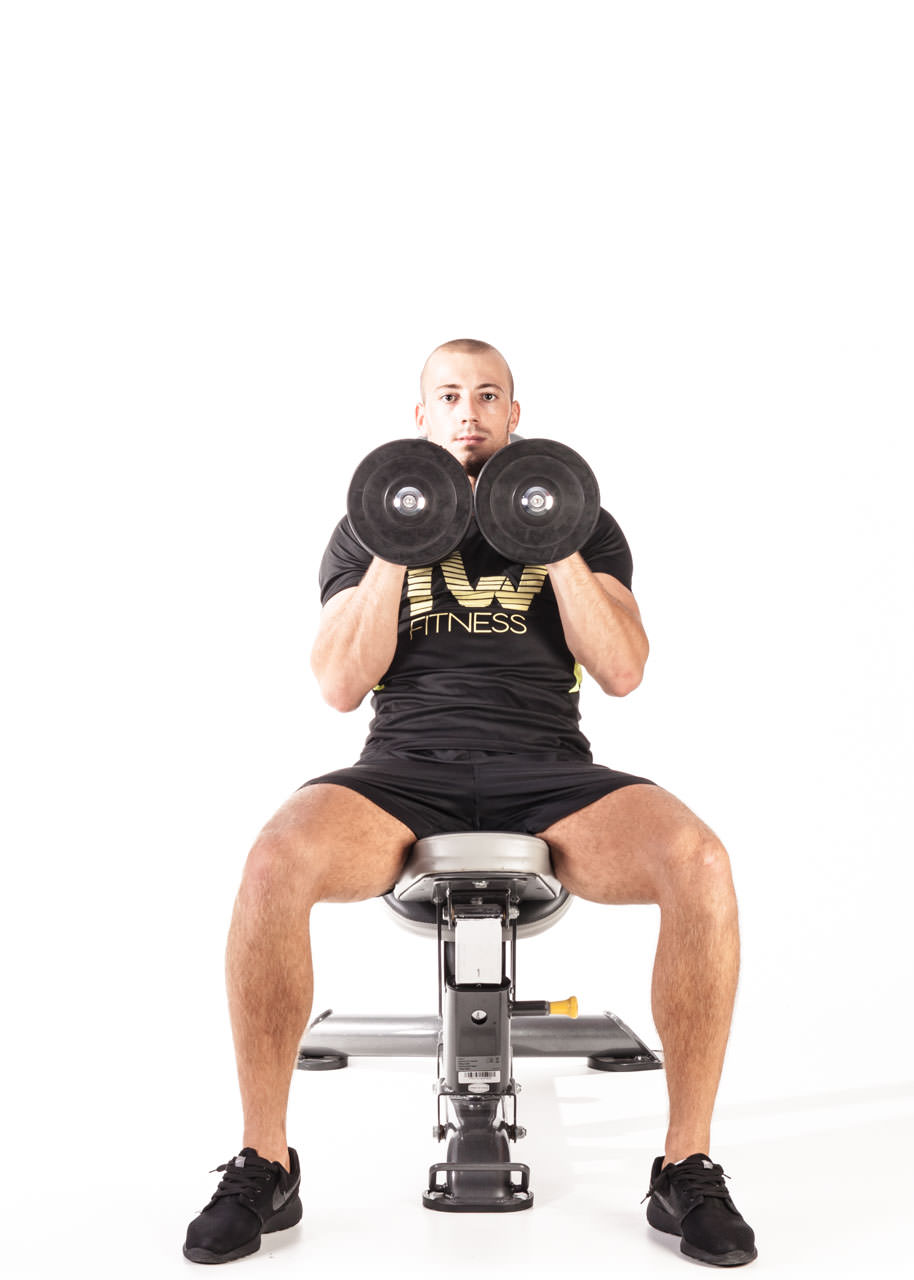 Seated Palms-In Dumbbell Press frame #1