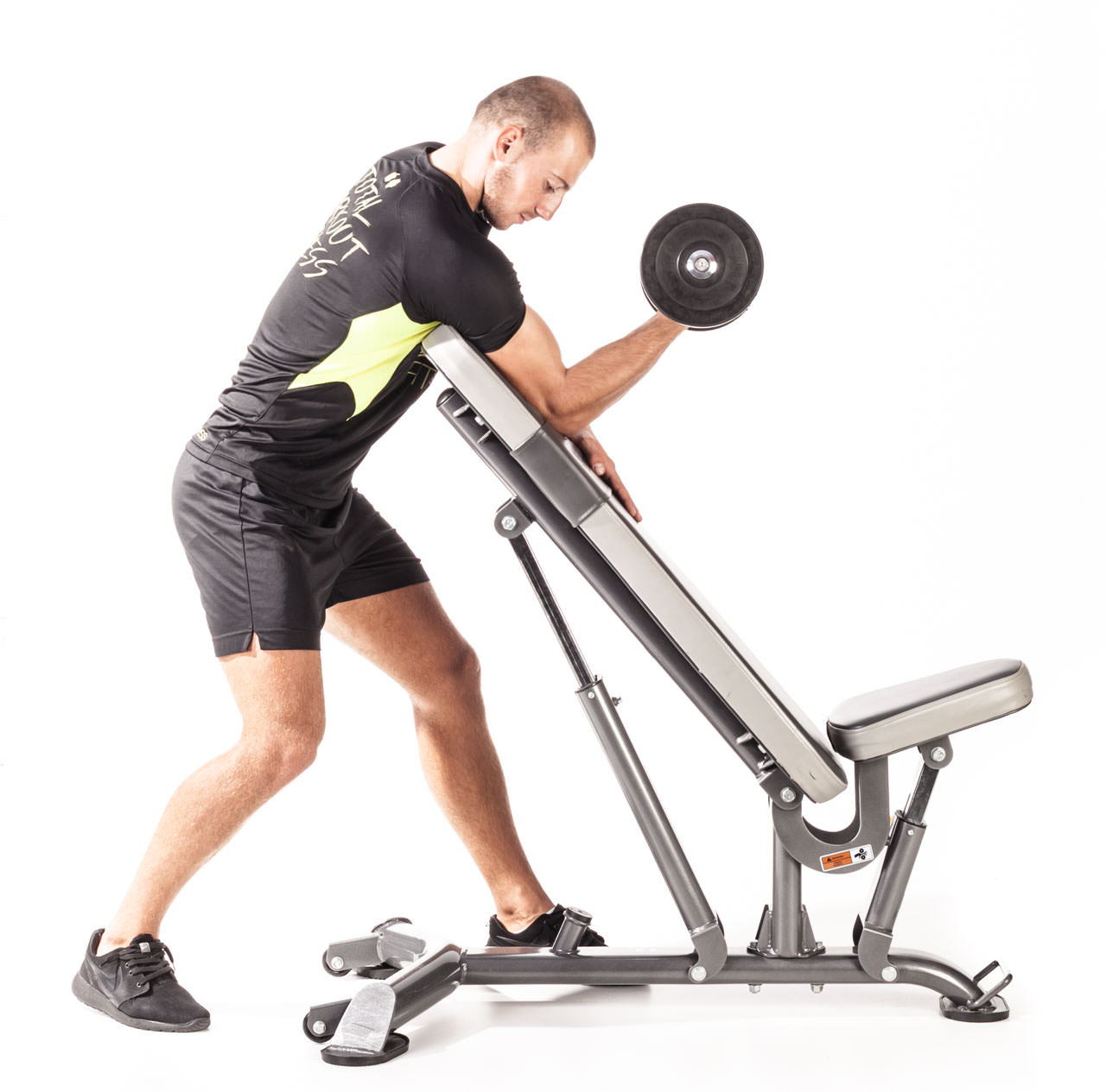One-Arm Dumbbell Curl Over Incline Bench frame #2